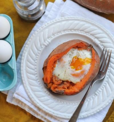 Twice-Baked Sweet Potato with Baked Egg
