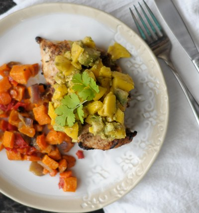Chili Grilled Chicken with Mango Avocado Salsa