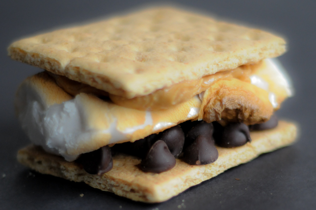 Indoor S'mores utilize a simple piece of everyday kitchen equipment to toast the marshmallows up perfectly! Use bar chocolate or chocolate chips, plus any nut butter you like, for a special treat! @heathersdish