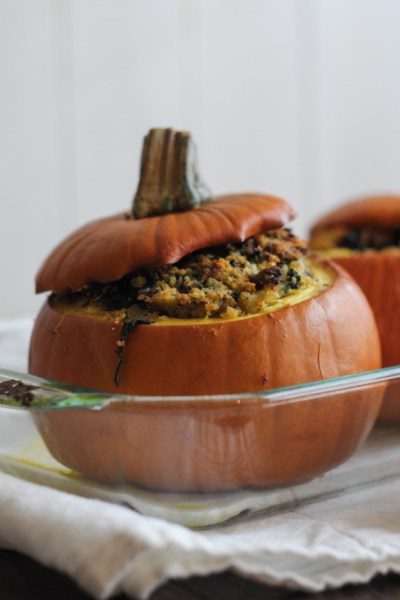 Italian Sausage and Cornbread Stuffed Pumpkins