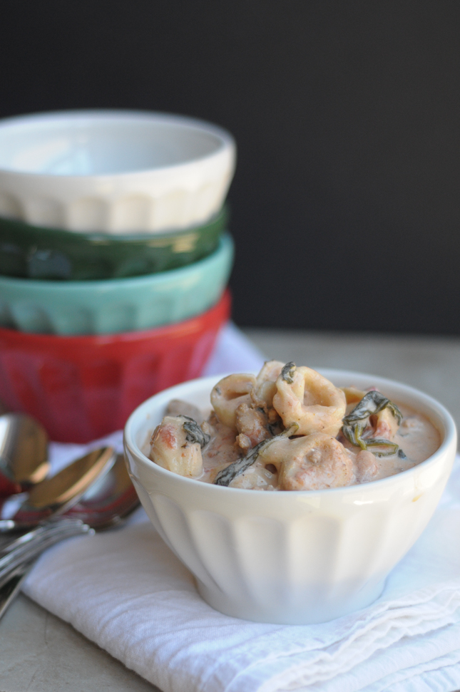 Slow Cooker Creamy Tortellini Soup #crockpotrecipe #souprecipe @heathersdish