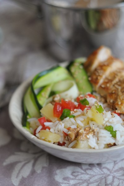 Pineapple RIce Bowls with @RicelandFoods @heathersdish