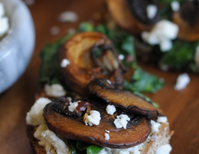 Toast with Seared Mushrooms, Smashed Feta and Wilted Greens