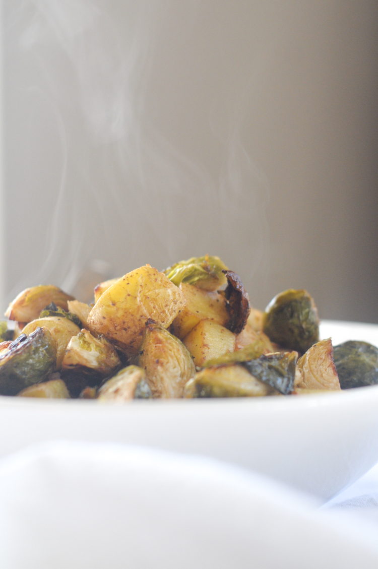 Dijon Roasted Brussels Sprouts and Baby Yukon Gold Potatoes with @heathersdish