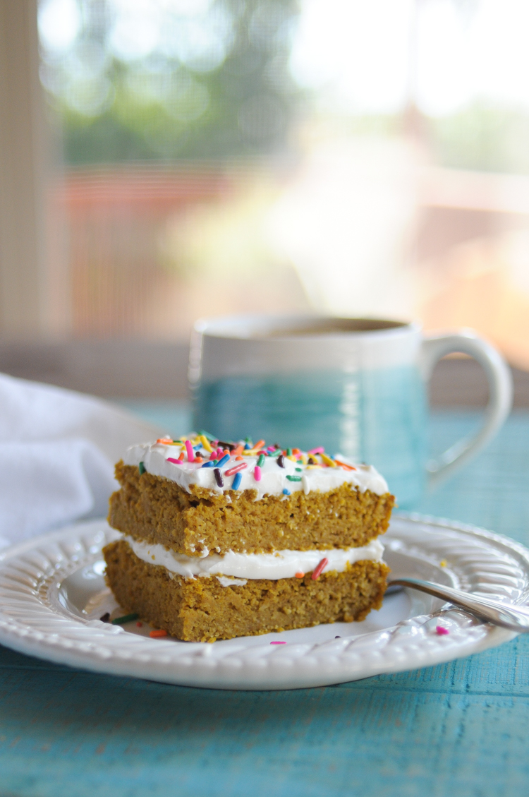 Gluten-Free Blender Pumpkin Breakfast Cake is really an any time cake, but is an especially epic way to start the day! Serve at any temperature and enjoy those crisp, cool mornings with this fall favorite!