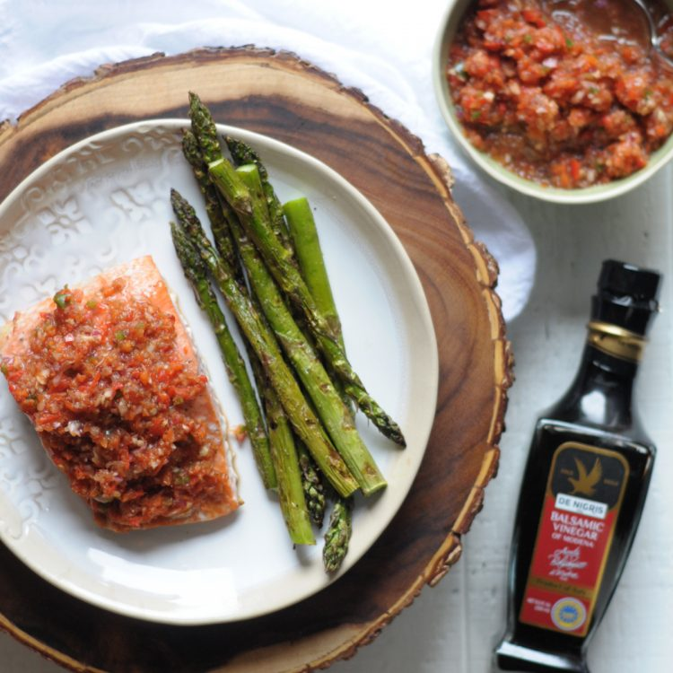 Grilled Salmon with Chimichurri Sauce is summer on a plate! Perfectly cooked, vibrantly pink salmon and fresh vegetables are a match made in heaven. @heathersdish @denigris1889 #ItalianVinegar