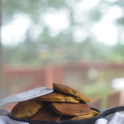 Grain Free Pumpkin Chocolate Chip Pancakes
