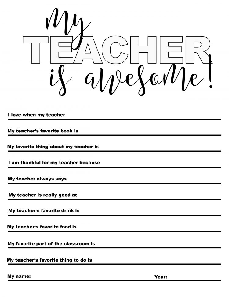 "Free ""My Teacher is Awesome"" printable, just in time for Christmas gifts! Download, and have your kids fill it out & color for a gift every teacher will love! @heathersdish"