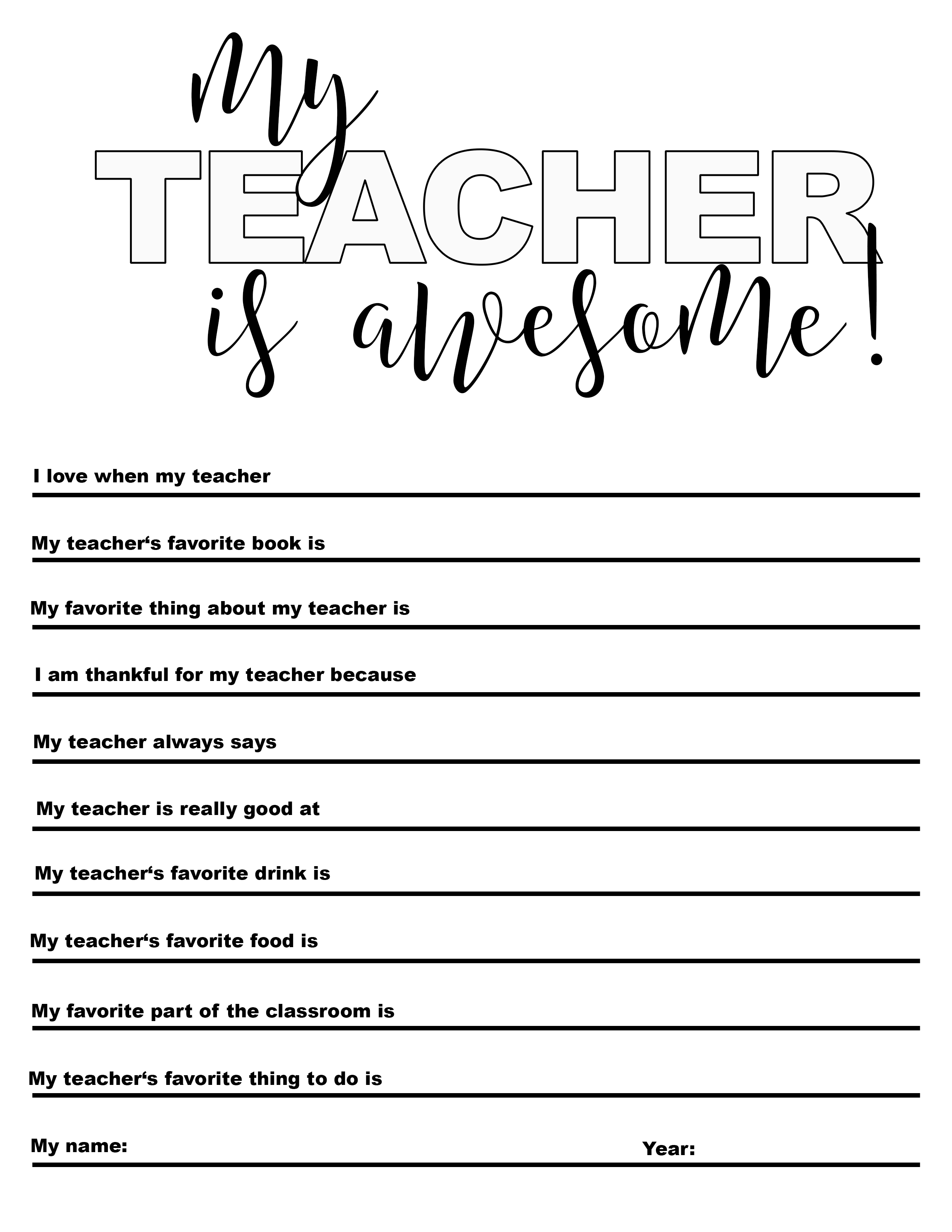 Free My Teacher Is Awesome Printable