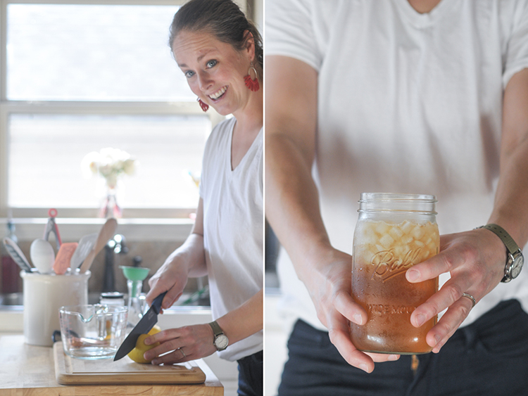 Naturally Sweetened Honey Lemon Simple Syrup uses the deliciously complex sweetness of honey and the extra oomph of fresh lemon to brighten any drink! @heathersdish @thymeandtable #sponsored #whatagoodthyme