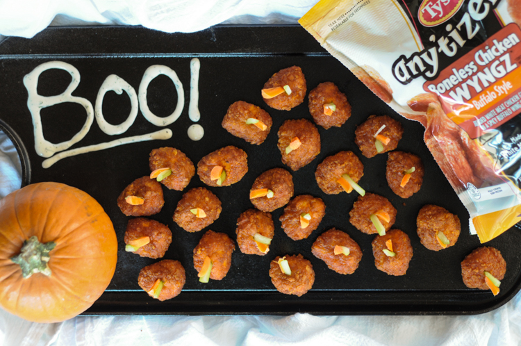 Buffalo Style Pumpkins with Death Eater Ranch make entertaining for Halloween fun AND delicious! Make these buffalo-style pumpkins for the whole family! #sponsored #WMDeliciousDisguises @heathersdish @Tyson