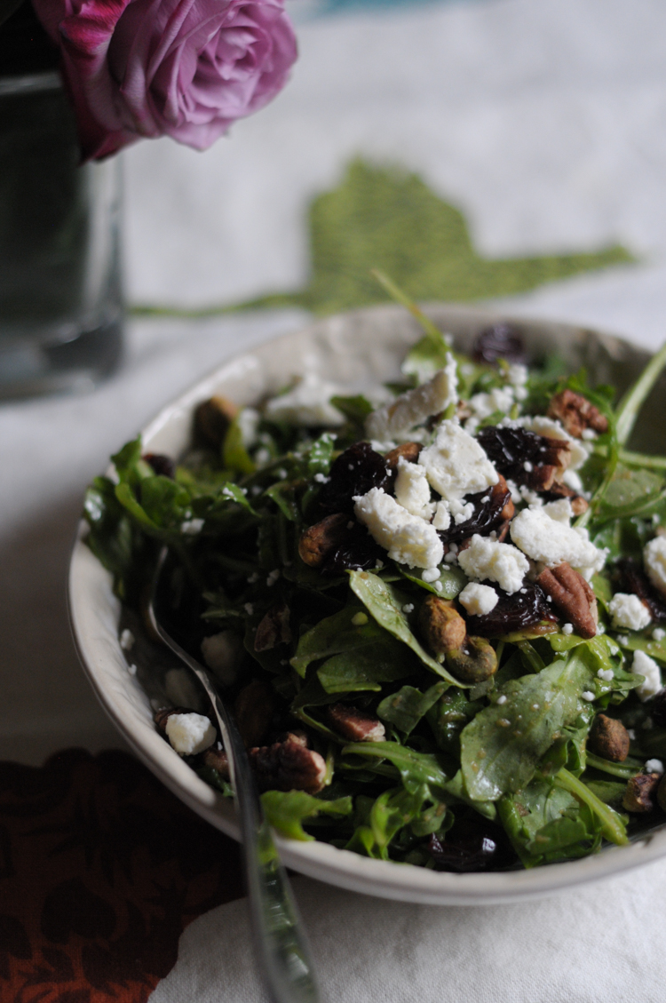 Nutty Arugula, Dried Cherry and Feta Salad @heathersdish