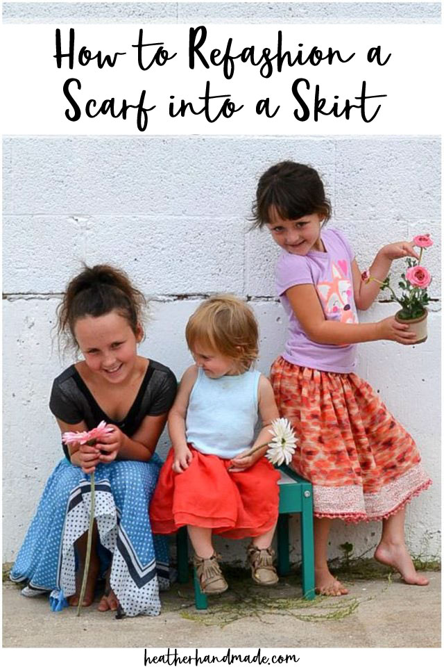 Make a Girls Skirt from a Scarf - DIY Sewing Tutorial