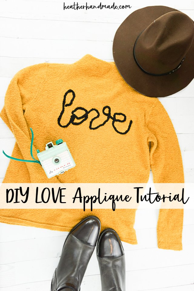 "Sewing tutorial: DIY ""LOVE"" applique sweater"