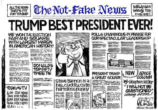 Trump's ideal newspaper cartoon