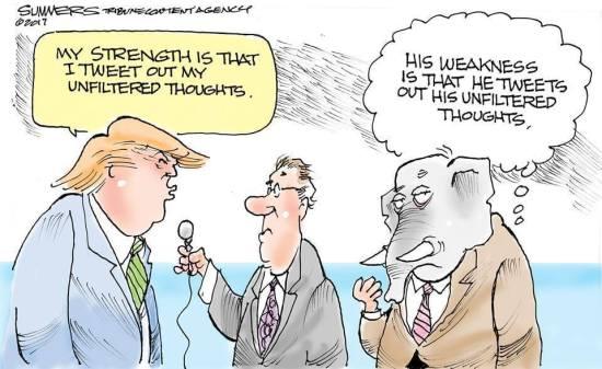 Trump on the strengths of Twitter cartoon.