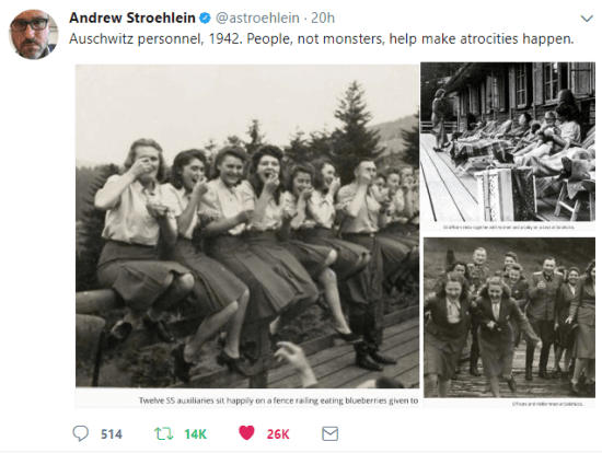 "Tweets of the ""good people"" at Auschwitz-Birkenau in 1942."