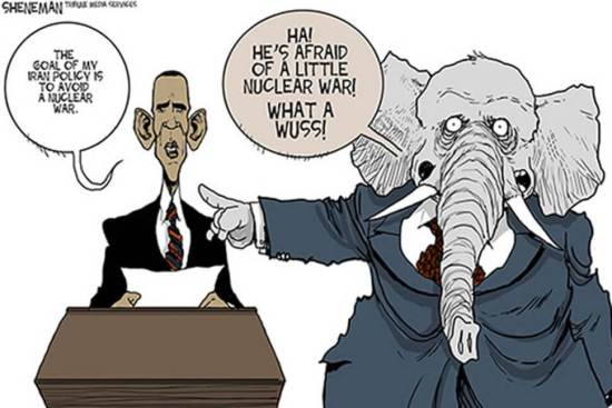 GOP Warmongers so oppose Iran deal cartoon