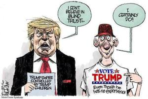 Cartoon Trump voters trust him blindly.