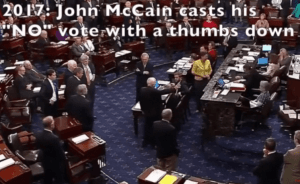 """John McCain casts """"no"""" vote to prevent Obamacare being stopped"""