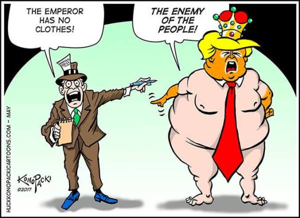 Cartoon: The emperor with no clothes vs The enemy of the people