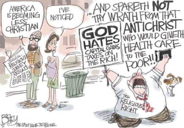 Cartoon: Religious Right acting in an un-Christian way re money and healthcare