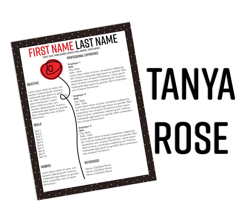 Tanya Rose InDesign Resume Template (Free Download)