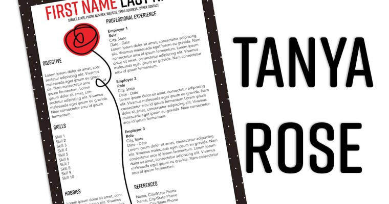 Tanya Rose InDesign Resume Template (Free Download)