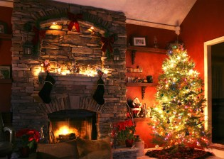 Christmas Tree Next To Fireplace