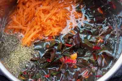 Lentil soup ingredients in Instant Pot