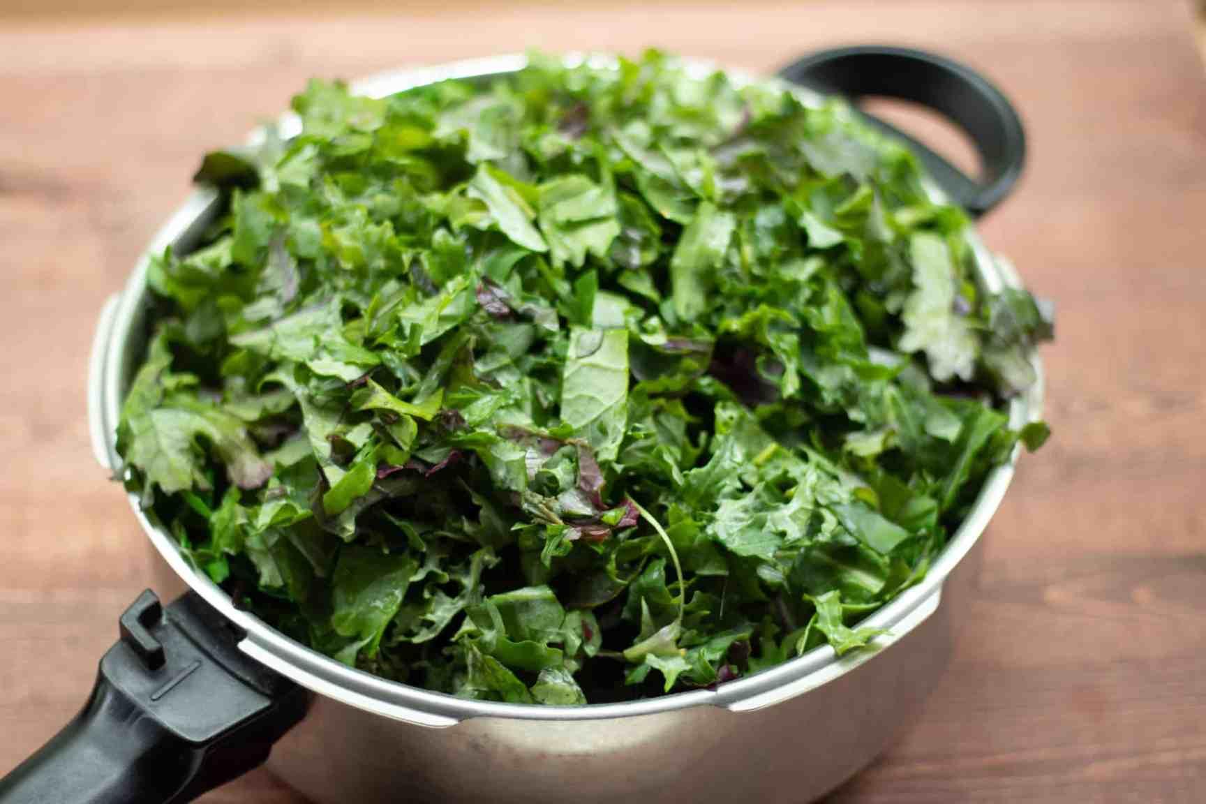 saucepan full of kale