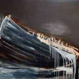 """Flood, 2016 oil on paper mounted on canvas 48x60"""""""