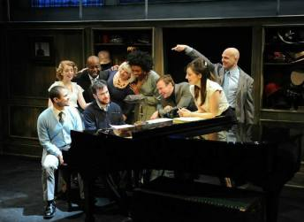 Music director Austin Cook and the cast of Sondheim on Sondheim at Porchlight Music Theatre