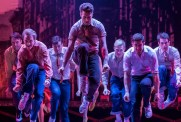 Riff (choreographer Rhett Guter) with other gang members in West Side Story at Drury Lane Oakbrook