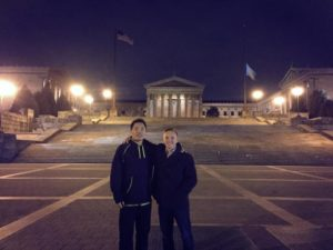 Our first book tour stop in Philly (at the Rocky statue)