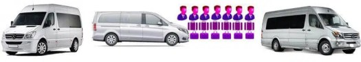 Fleet of People Mover Vehicles by Gatwick Taxis