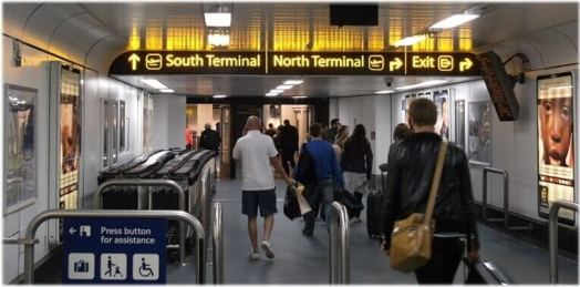 inside gatwick airport south terminal and north terminal direction