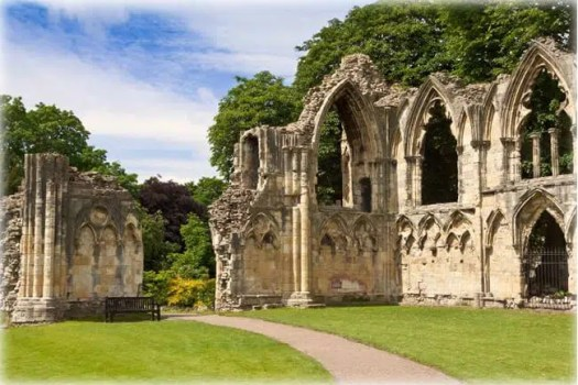 St Mary's Abbey ruins, next to Yorkshire Museum, York, England