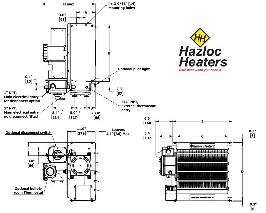 Hazloc Xeu1 16 Explosion Proof Electric Air Heater