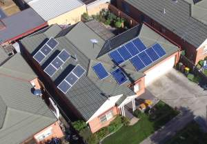 Dunipace residence Aerial shot of Solar Air Modules
