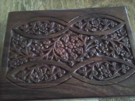 wooden box brass corners top