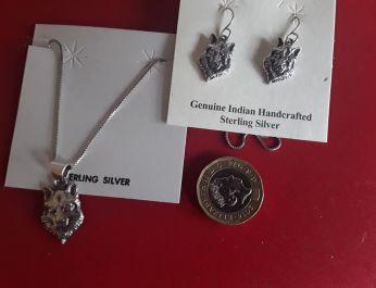 Wolf Head Necklace & Earrings 1