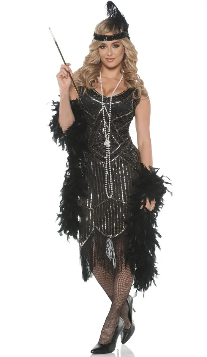 Women S Beaded Black Great Gatsby Dress 1920s Flapper Costume