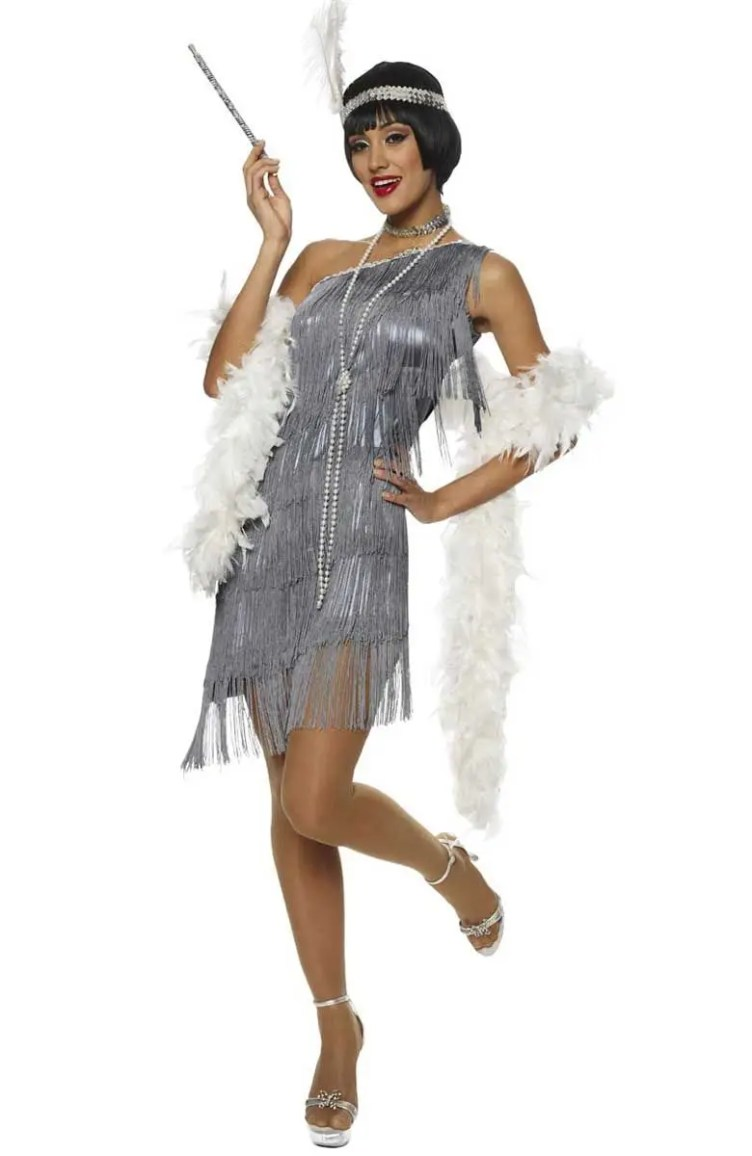Women's Grey Fringed Flapper Costume | Women's Sexy 1920's ...