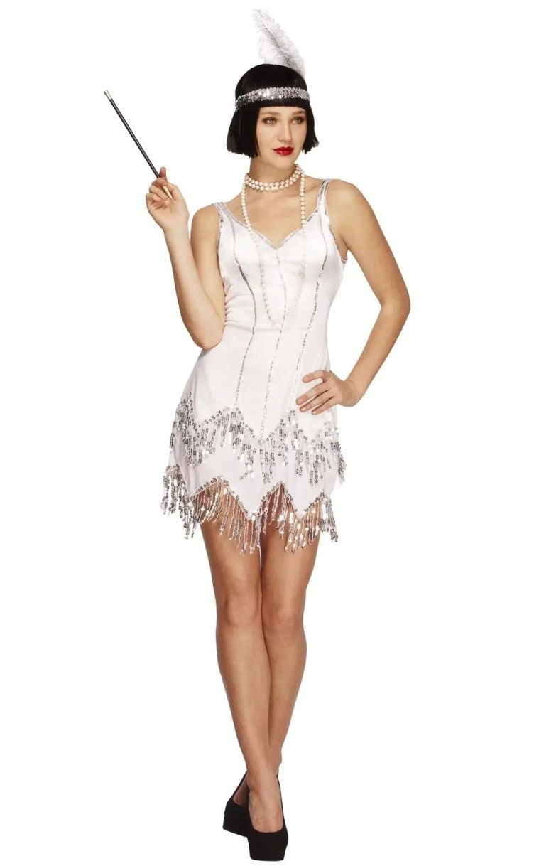 Women's White 1920's Flapper Costume | Roaring 1920's ...
