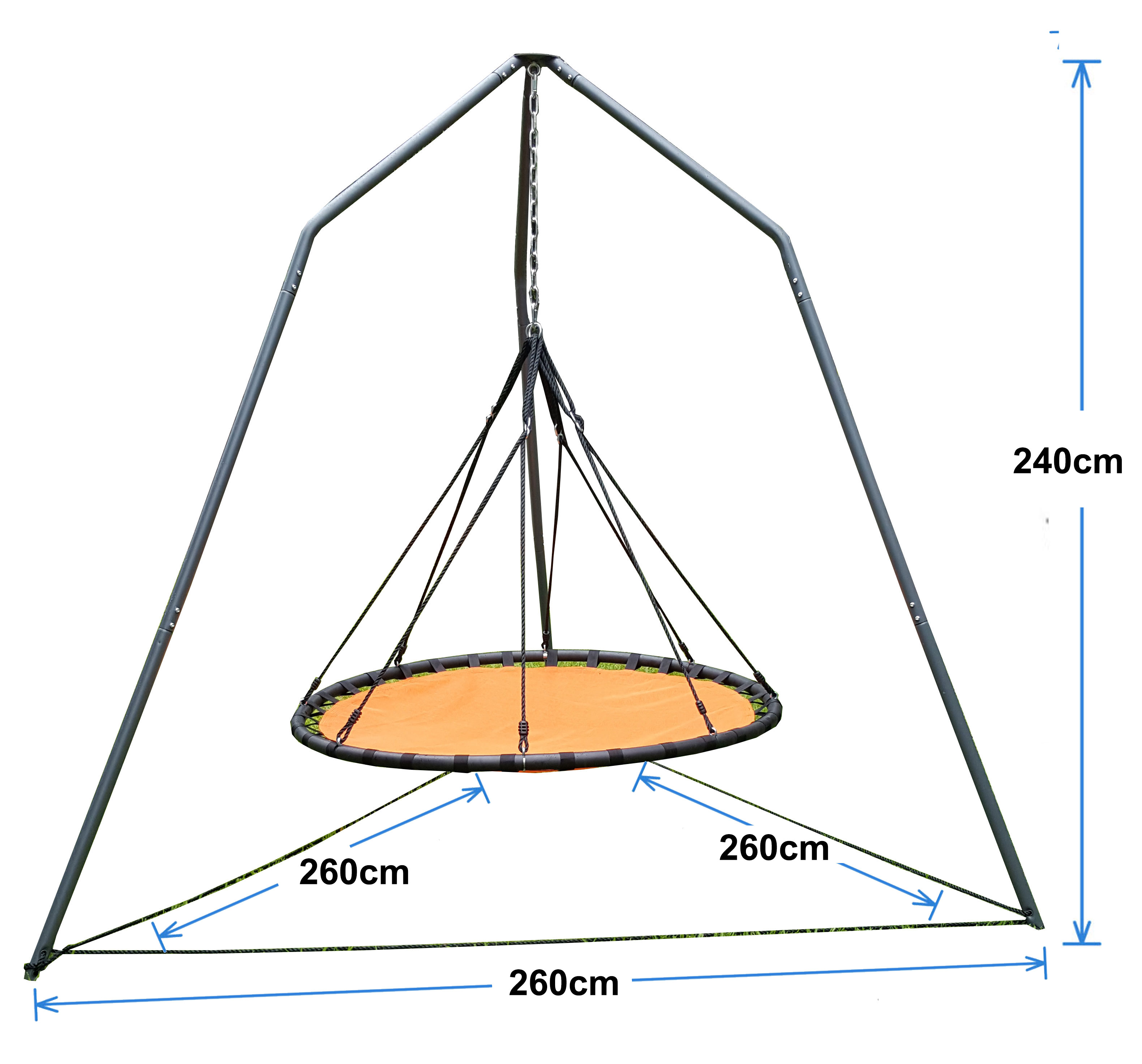 150cm Orange Mat Nest Swing With Tripod Stand