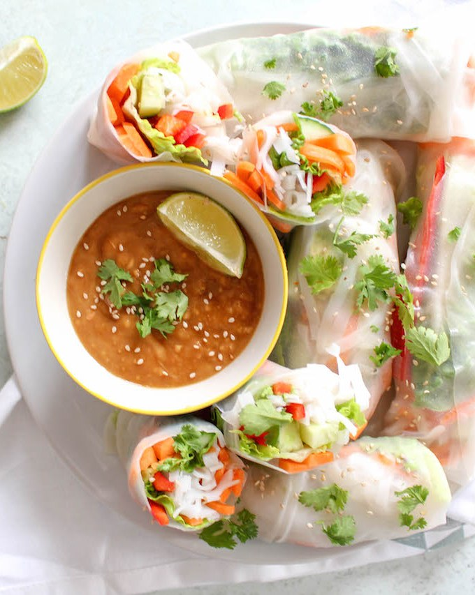 Thai Summer Rolls with Peanut Dipping Sauce - vegetarian, plant based, vegan, gluten free, refined sugar free - heavenlynnhealthy.com