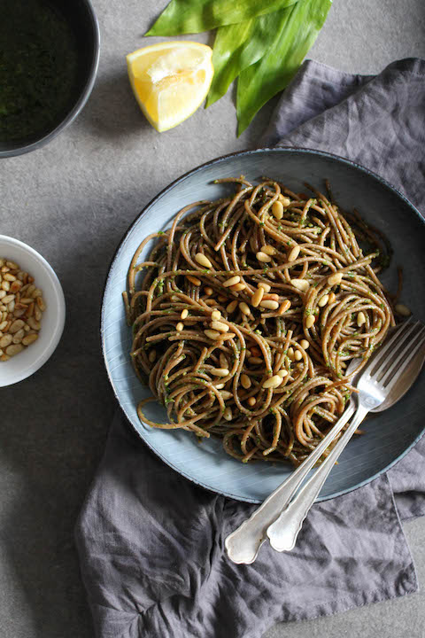 Wild garlic pesto with spelt pasta - plant based, refined sugar free, vegan - heavenlynnhealthy.com