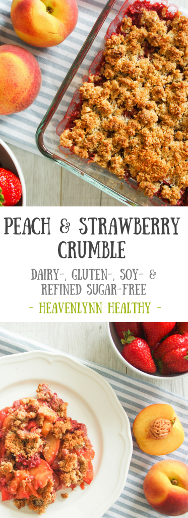 Peach and Strawberry Crumble - vegan, dairy-free, gluten-free, refined sugar-free