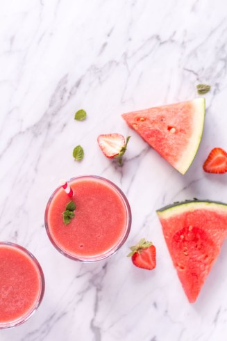 Strawberry Watermelon Smoothie - vegan, plant based, refined sugar free, healthy - heavenlynnhealthy.com